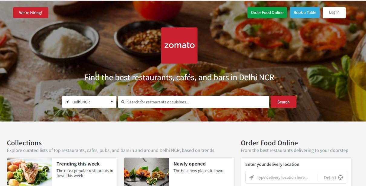 zomato food ordering website